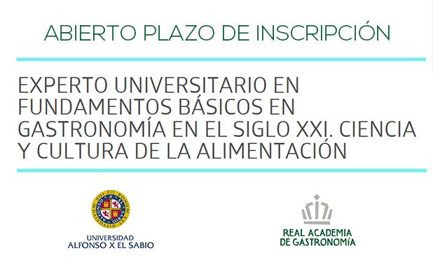 Abierto plazo de inscripción: Curso de Experto Universitario en Fundamentos Básicos en Gastronomía en el Siglo XXI